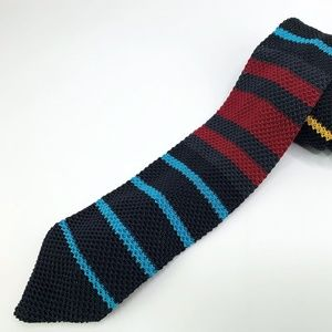 Hook & Albert Knitted Silk Tie Multi-Color Striped